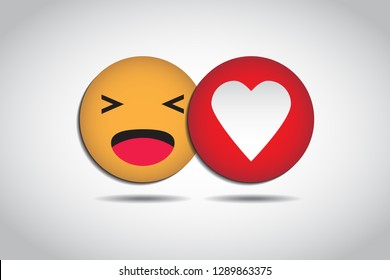 Funny emotion and Love icons, Isolated. Vector illustration. EPS10