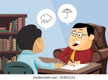 Funny experienced attorney solves problem. Modern interior law firms. Customer service. Financial advice. Man invests in real estate. Simple cartoon vector illustration.