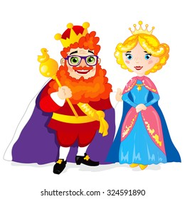 Funny extravagant red-bearded King and Her Majesty the Queen