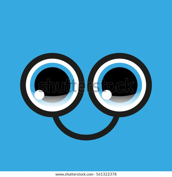 Funny Eyes Glasses On Blue Background Stock Vector Royalty Free