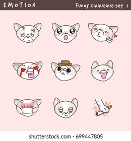 Funny face Chihuahua emoji for web design. Vector set emotion Chihuahua.