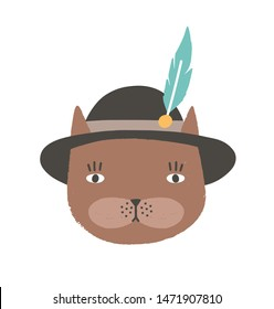 Funny face or head of cat wearing Tyrolean or Bavarian hat with feather. Cute cartoon muzzle of kitten isolated on white background. Childish vector illustration in flat style for kids t-shirt print.