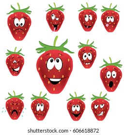 funny face strawberries illustration vector set isolated on white