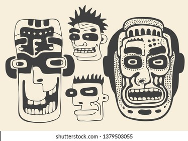 Funny faces and masks set. Drawing Style. Vector illustration.