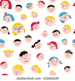 Funny faces seamless pattern - vector graphic illustration