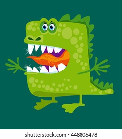 funny fairy dragon with big teeth and open hug. vector illustration of green cute mascot for dental