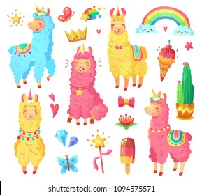 Funny fairytale cute mexican smiling colorful yellow, pink, blue alpaca with fluffy wool and cute rainbow llama unicorn. Magic rainbow wildlife character pets cartoon illustration set