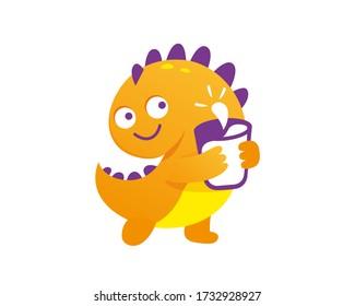 Funny fairytale dragon, cute lizard. Little dragon drinks milk. Funny character. A glass of milk.