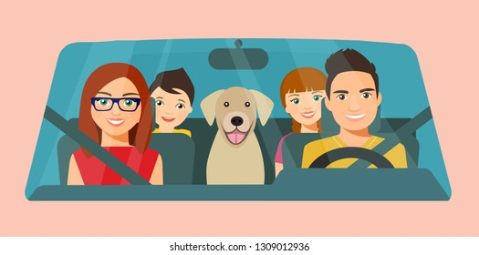 Funny  family driving in car front. Vector flat style illustration