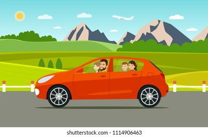 Funny  family driving in car on weekend holiday. Summer  landscape.Vector flat style illustration