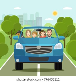 Funny  family driving in car on weekend holiday. Vector flat style illustration