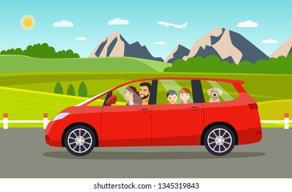 Funny  family driving in minivan on weekend holiday. Summer  landscape.Vector flat style illustration