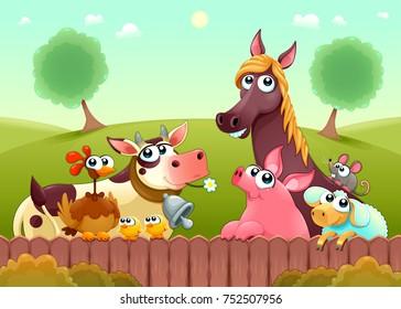 Funny farm animals smiling near the fence. Vector cartoon illustration