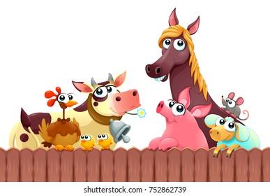 Funny farm animals smiling near the fence. Vector cartoon isolated illustration