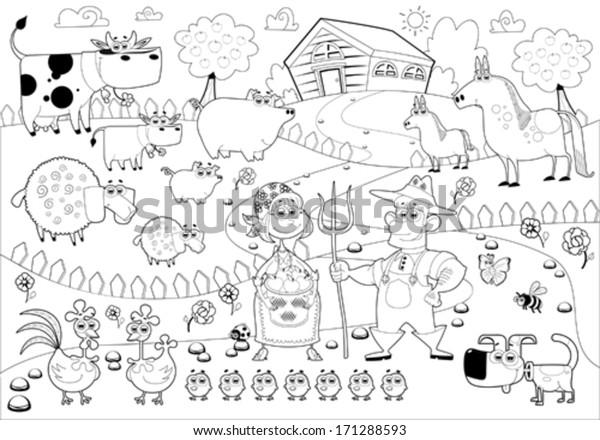 Funny Farm Family Black White Cartoon Stock Vector Royalty Free 171288593