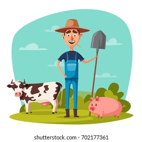 Funny farmer. Cartoon vector illustration.