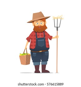 Funny farmer character.