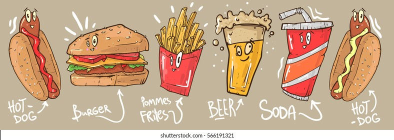 Funny fast food icons set. Vector illustration for restaurant menu design. Burger, hot dog, soda, beer, french fries potato, cartoon comic character