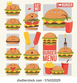 Funny fast food icons set. Vector illustration for restaurant menu design, card, sticker,avatar. Burger, soda, french fries potato, cartoon comic character. Food emoticon.