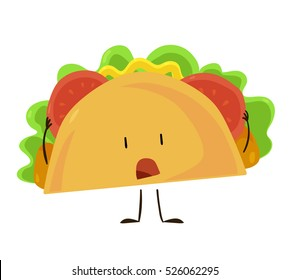 Funny fast food taco icon. Vector illustration for mexican restaurant menu design. Tortilla cartoon comic character. Lunch isolated on white background.