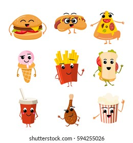 Funny fast food vector characters