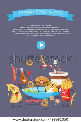 Funny Fast Food Web Banner Smiling Stock Vector Royalty Free