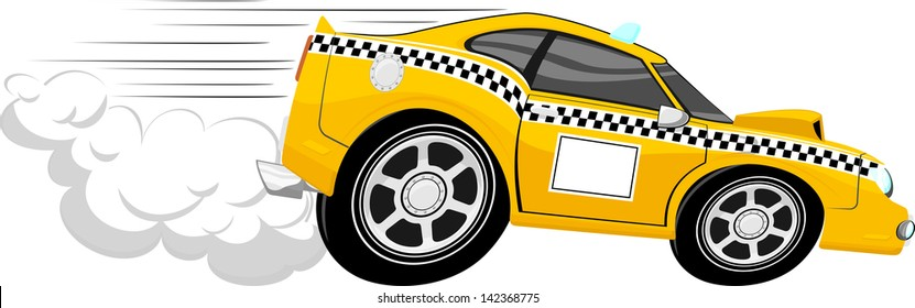 funny fast taxi car cartoon isolated on white background