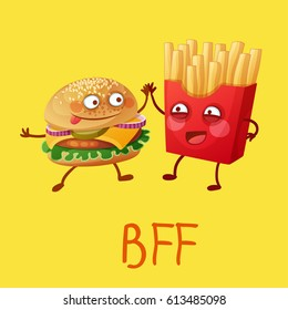 Funny fastfood characters Best Friends Forever. Cheerful food emoji hamburger and french fries. Cartoon vector illustration