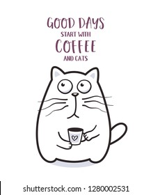Funny fat cat with coffee mug for greeting card design t-shirt print or poster