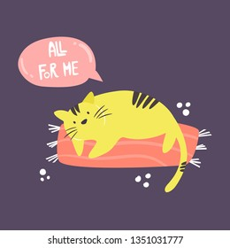 Funny fat egoist cat. Loving myself concept. Vector illustration