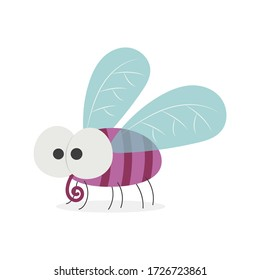 Funny fat fly insect vector cartoon isolated on white background. Flying fly cartoon. Cute bug vector cartoon.