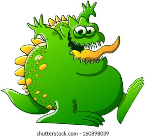 Funny, fat and green monster with sharp teeth while having fun, smiling, sticking his tongue out and raising his arms