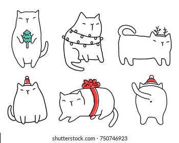 Funny fat Merry Christmas cats. Happy new year domestic animals in holiday decorations. Garlands, tree, gift bow, Santa hat.