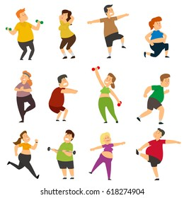 Funny fat people are doing sports. Thick characters actively lose weight while doing sports exercises. vector illustration.