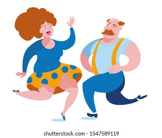 Funny fat people have fun dancing polka dance. Vector illustration on the theme of bodypositive.
