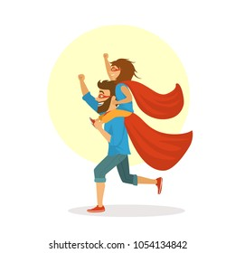 funny father and daughter having fun, playing together superheroes, girl sitting on dads shoulders, happy fathers day vector illustration scene