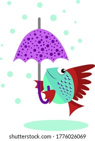 Funny fish under the umbrella on white background. Cartoon character. Flat color vector illustration