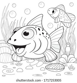Funny fish underwater. Coloring book for kids.