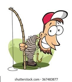 Funny fisherman entangled