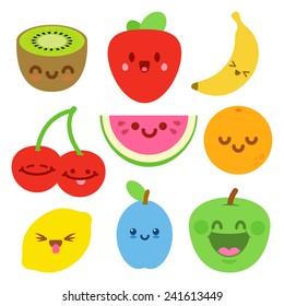 Funny Flat Cartoon Happy Yummy Fruits icons clip art vector illustration on white