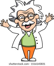 Funny flat illustration of a crazy professor in a white coat. vector illustration isolated on white background