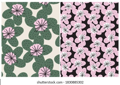 Funny Floral Seamless Vector Pattern. Abstract Freehand Flower Print. Pink and Green Hand Drawn Flowers Isolated od a Black and Beige Background. Cute Abstract Garden Repeatable Design.