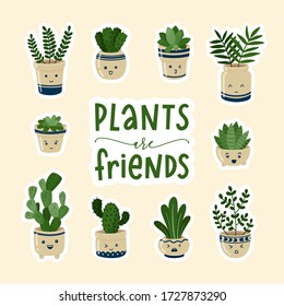 Funny floral set cartoon house plants with face emotions. Template for web, greeting cards, posters, labels, stickers and banners. Vector illustration