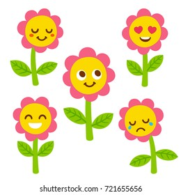 Funny flower with smiley face set, different facial expressions. Cute cartoon illustration.