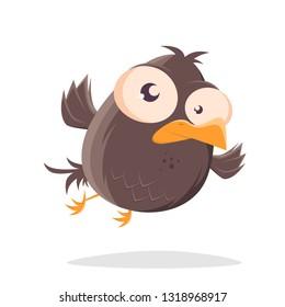 funny flying cartoon bird illustration