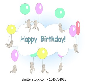 Funny flying cats with balloons and cloud frame. Happy birthday card. Vector cartoon illustration.