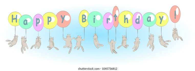 Funny flying cats with balloons on blue background. Happy birthday card. Vector cartoon illustration.