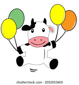 Funny flying cow with balloons. Happy, birthday, party, or celebration theme.