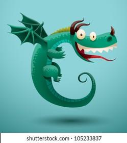 Funny flying dragon 5, vector