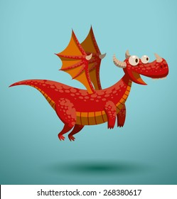 Funny flying dragon, vector